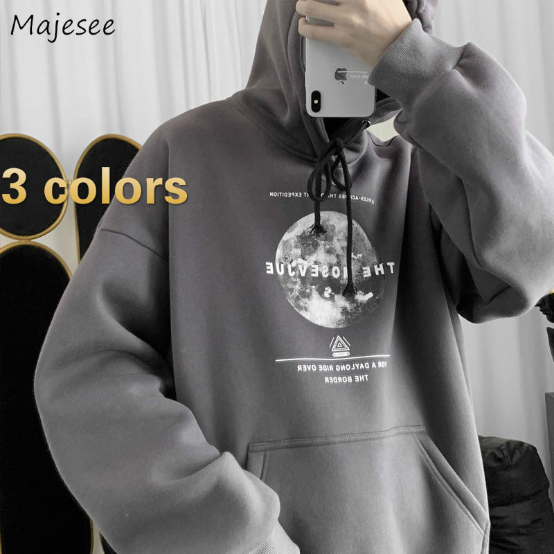 Hoodies Men Plus Size Loose 3XL Printed Simple Casual Mens Pullover  Sweatshirt Hip-Hop Street Style Daily HOT All-match Couples