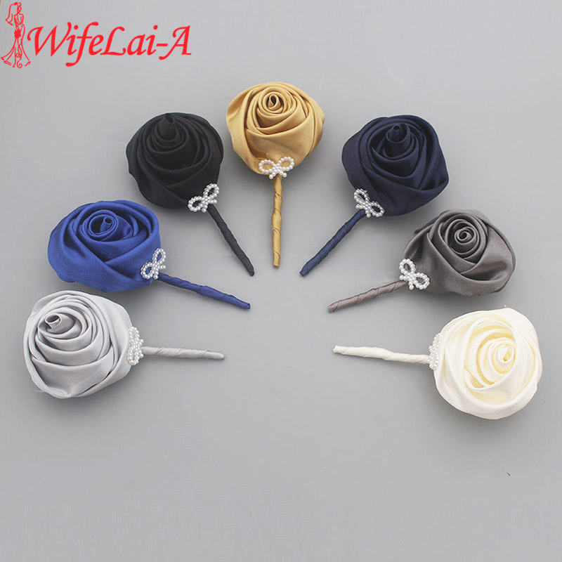 Best Men Corsages Wedding Party Prom Accessories Boutonniere Satin Rose Flowers Pin Handmade Wedding Corsage Pin Brooch XH0676