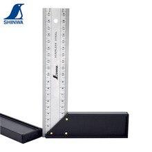 Hohe Qualität SHINWA Pinguin Gehrung Versuchen Platz Edelstahl Rechten Winkel Lineal 20/25/30cm Vorne und zurück Gleiche Skala