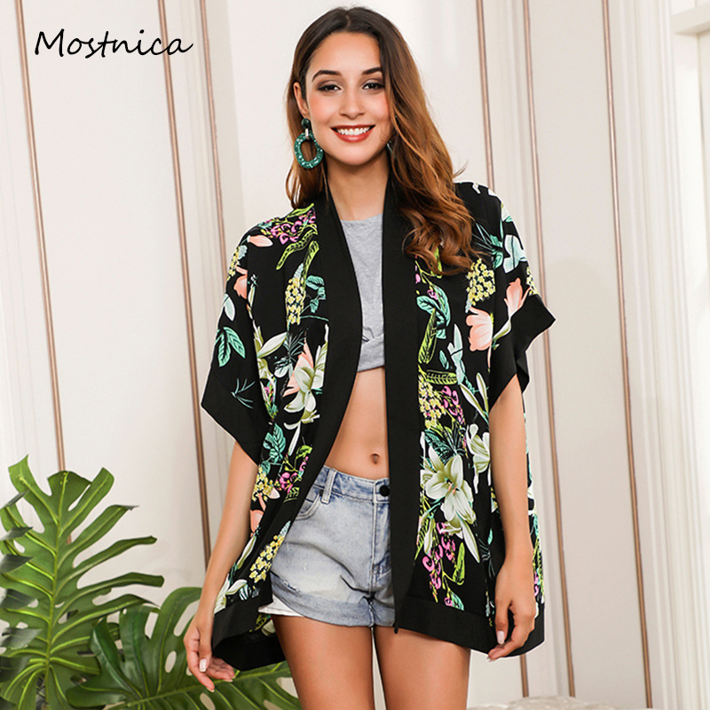 Mostnica Summer Tropical Printed Kimono Women Ruffled Short Sleeves Mori Girl Long Cardigan Kimono Woman Fashion Streetwear