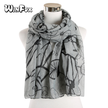 Winfox Fashion Women Ladies winter scarf Bicycle Pattern scarf Long Scarf Warm Wrap Shawl Voile scarves casual poppy print voile scarf
