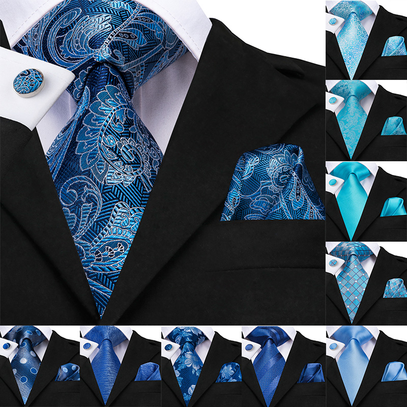 Hi-Tie Fashion Designer Blue Ties For Men Luxury Paisley Tie Striped Solid Busness Party Wedding Classic Mens Ties Cufflinks Set