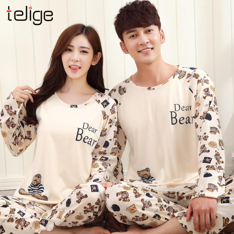 Couple Pajamas Long Sleeve Pijama Hombre Autumn Casual Women's Pajamas Sleepwear Suit Homewear Pijama Mujer Large Size
