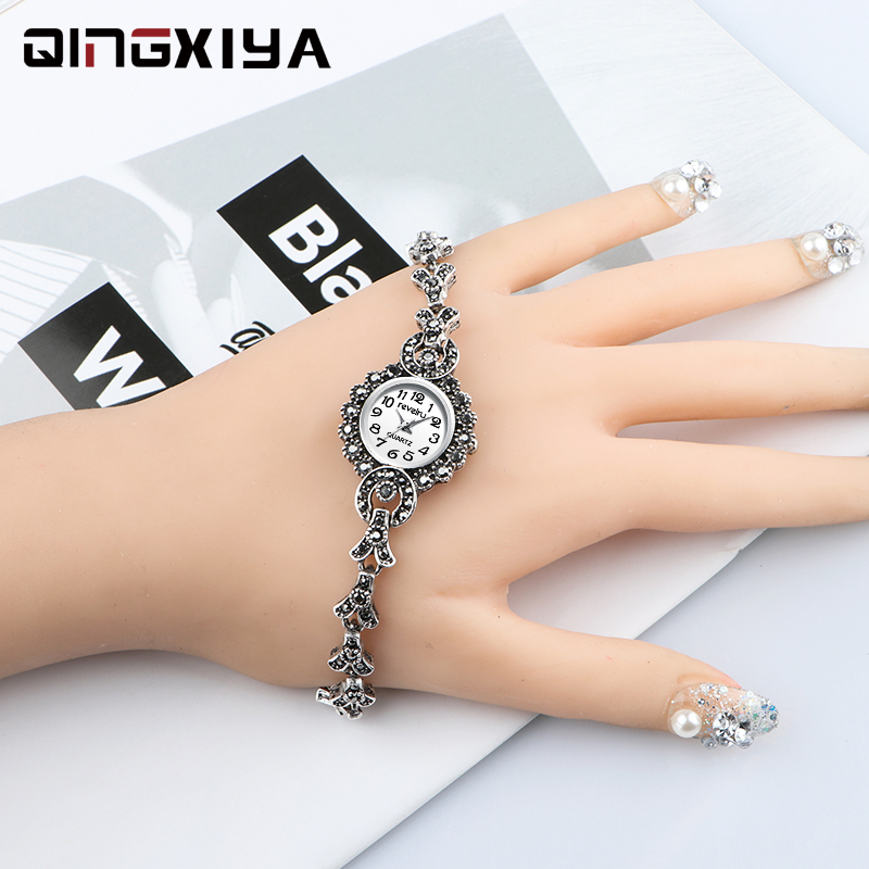 QINGXIYA Brand Luxury Antique Silver Bracelet Watches For Women Fashion Quartz Watch Clock Ladies Wrist Watch Zegarek Damski