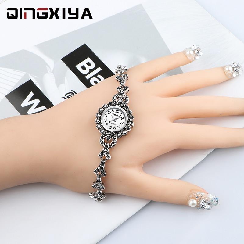 QINGXIYA Brand Luxury Antique Silver Bracelet Watches For Women Fashion Quartz Watch Clock Ladies Wrist Watch Zegarek Damski