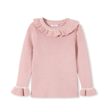 Balabala Toddler girls Pullover Sweater Ribbed Knit Sweater flare neck Children Kids princess Winter Tops Clothes