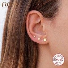 ROXI – Mini boucles d'oreilles rondes pour femmes et filles, en argent Sterling pièces/ensemble, 925 2/3/4mm, Piercing, bijoux de mariage