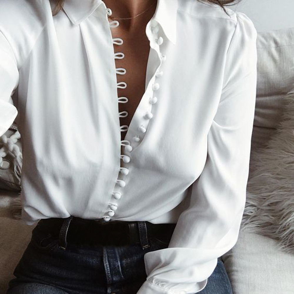 Women Fashion Casual Solid Long Sleeve Blouse Lapel Shirt Blouse Shirt Women Turn-down Collar Regular Blusas Summer Shirts F2