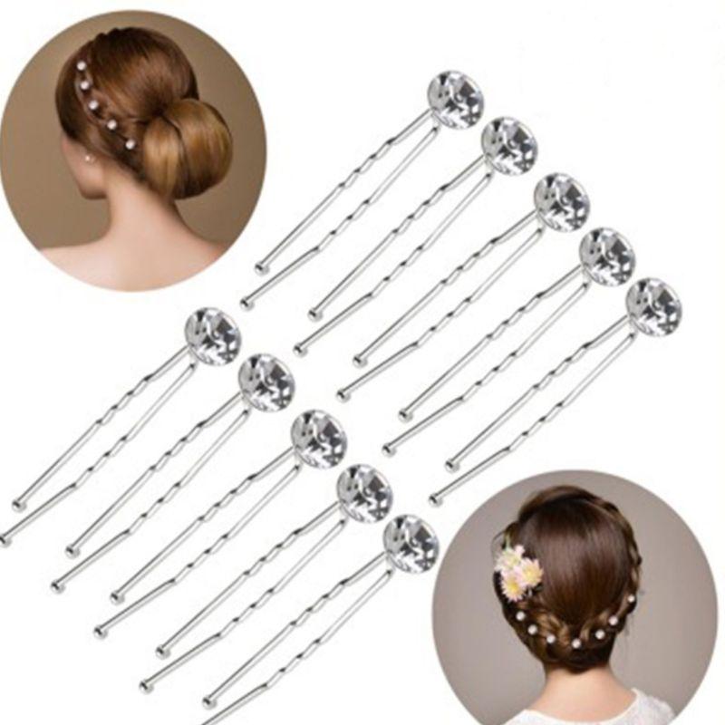 12Pcs Womens Wedding Hairpins Wavy U-Shaped Hair Clip Imitation Crystal Rhinestone Vintage Bridal Ponytail Hairstyle Barrettes
