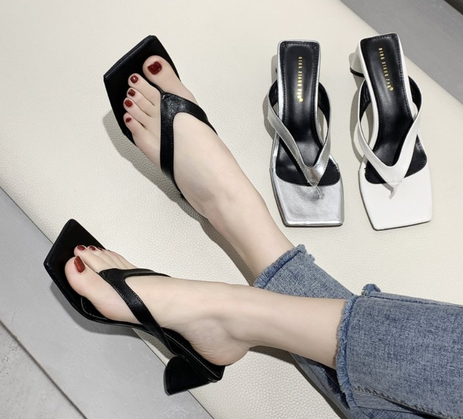 High Quality High Heel Slippers Sandals Women Open Toed Round Heel Sandals Women Summer Slippers Shoes Sandals