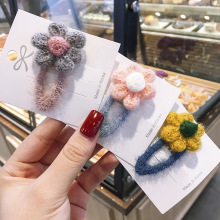 Colorful Plush Flower Hair Clip Women 's Net Red Headdress Girl Edge Hairpin Ornaments Set