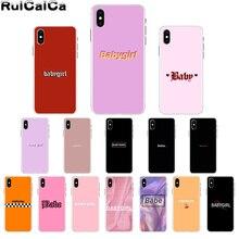 RuiCaiCa Babe babygirl honey line Text art Smart Cover мягкий чехол для телефона Apple iPhone 8 7 6S Plus X XS MAX 5 5S SE XR