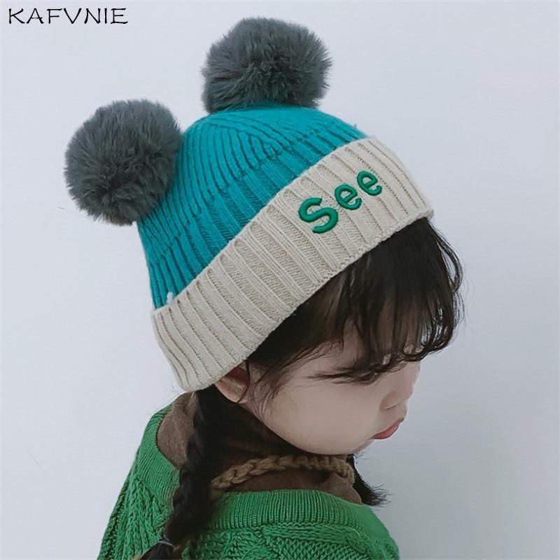 KAFVNIE  New Children Hat Kids Baby  Knitted Warm Winter Wool Hat Knitting Beanie Fur Pom Pom Hat Baby Boy Girls Pink Ctue Cap