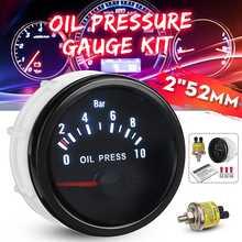 العالمي سيارة النفط قياس الضغط أطقم 2 52 مللي متر 12 فولت الأبيض الرقمية LED قراءات الأسود لين الوجه النفط الصحافة متر مع 1/8 NPT الاستشعار