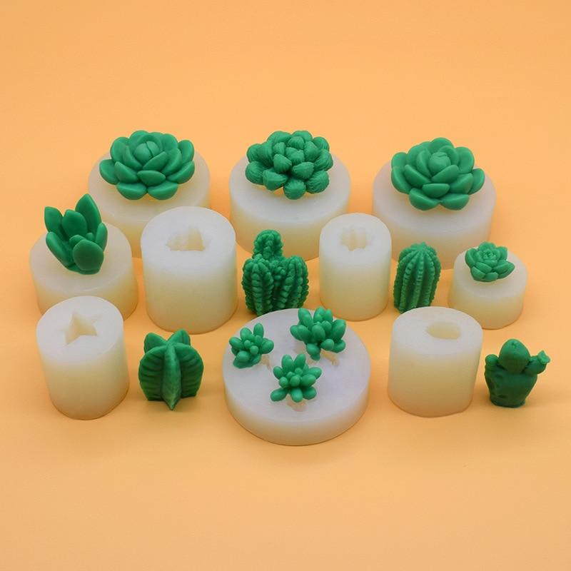Силиконовая форма 3D для кактуса, дерева, суккулентов, желе, шоколада, льда, выпечки тортов, гипсовая восковая бетонная форма, «сделай сам», по...