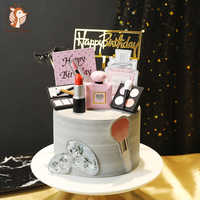 Perfume para decoración de tartas, lápiz labial, cosméticos para mamá, adorno de pastel para mujer, Magdalena de cumpleaños, suministros de decoraciones para fiestas