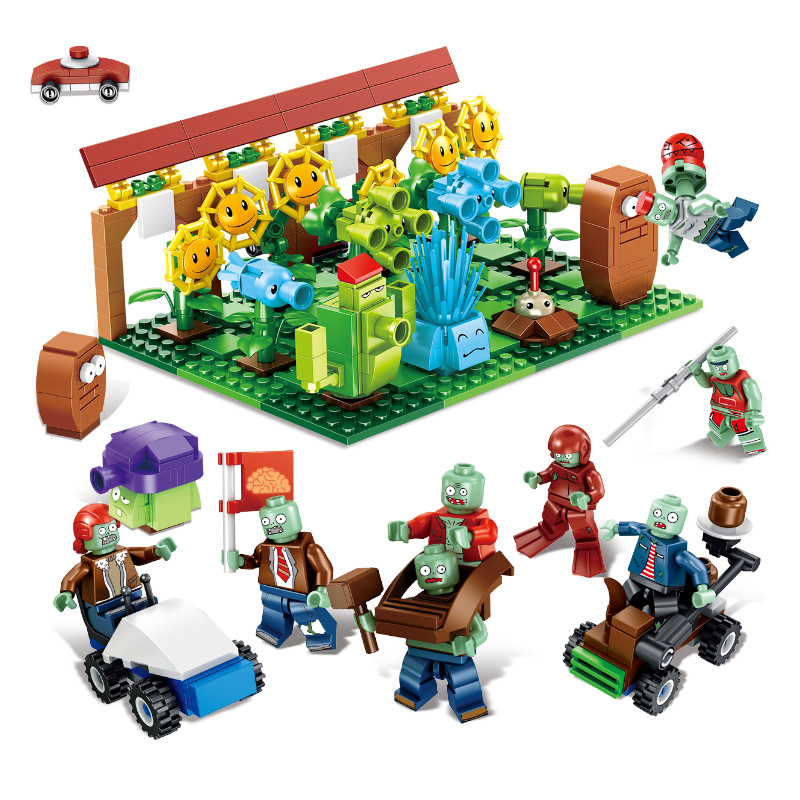 729pcs Zombie lepining Plants Vs Zombies Strategy Game Afro Pharaoh Style Building Blocks Toys For Children image