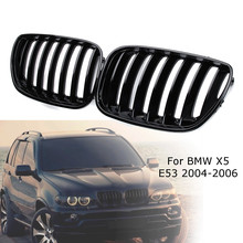2 adet parlak siyah araba ön böbrek Grill menfezler için sağ ve sol BMW X5 E53 2004 2005 2006 ABS 51137124815 51137124816