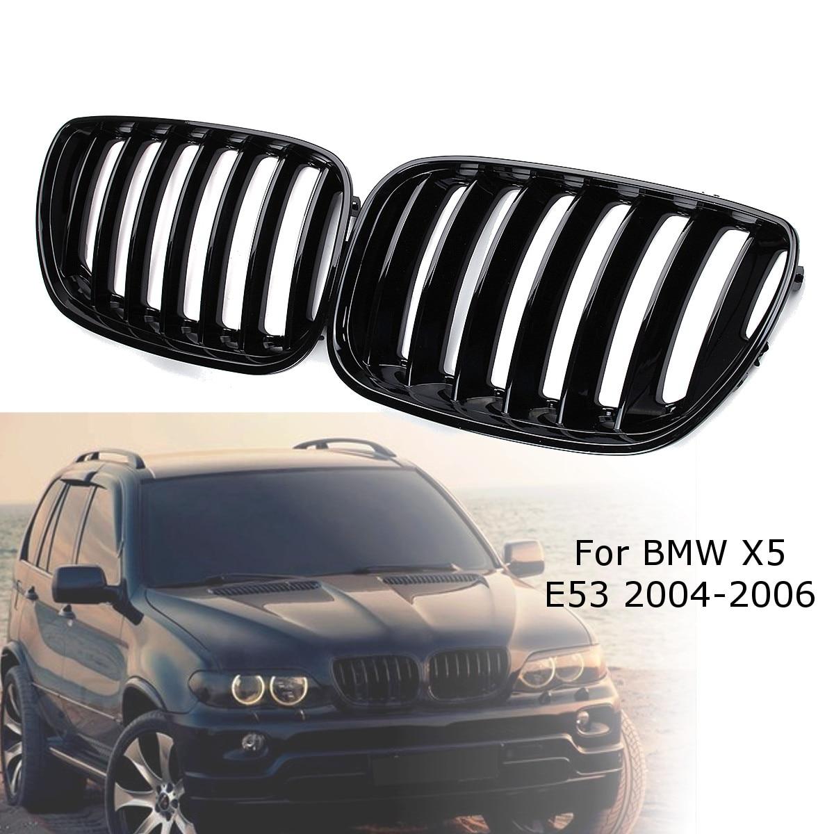 2Pcs גלוס שחור רכב כליות מול סורגי ימין ושמאל עבור BMW X5 E53 2004 2005 2006 ABS 51137124815 51137124816
