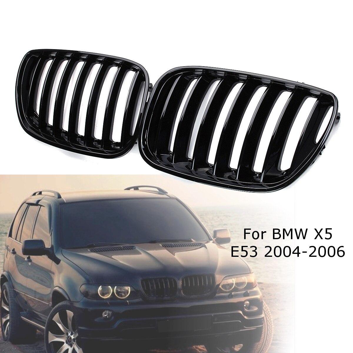 2Pcs GLOSS สีดำด้านหน้ารถย่าง Grilles ขวาและซ้ายสำหรับ BMW X5 E53 2004 2005 2006 ABS 51137124815 51137124816