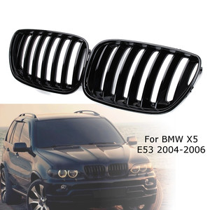 Image 1 - 2Pcs Gloss Black Car Front Kidney Grill Grilles Right & Left for BMW X5 E53 2004 2005 2006 ABS 51137124815 51137124816