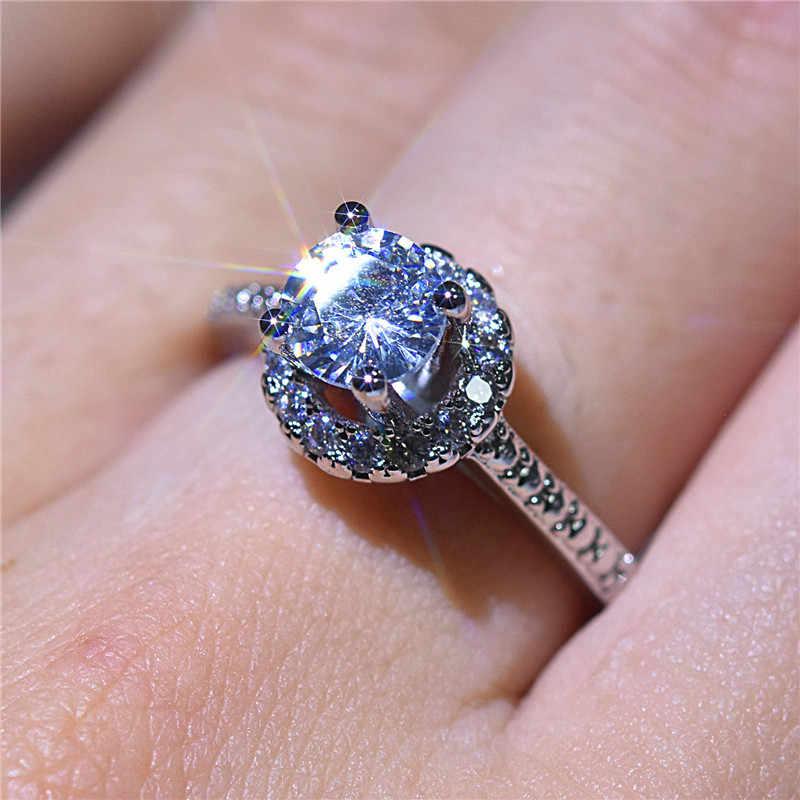 หญิงหรูหราสุภาพสตรีขนาดเล็กรอบแหวน Zircon Classic 925 นิ้วเงินงานแต่งงานแหวนสัญญาหมั้นแหวน