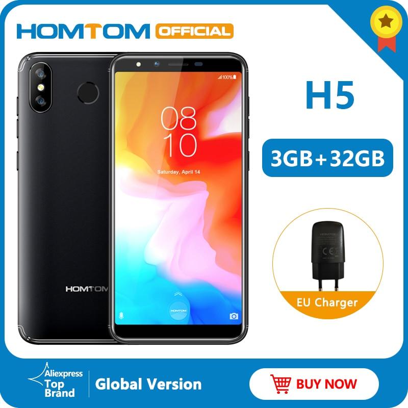 Homtom h5 android 8.1 mt6739 quad core FDD-LTE 4g desbloqueio da impressão digital smartphone 3 gb 32 gb 3300 mah 5.5 polegada face id telefone móvel
