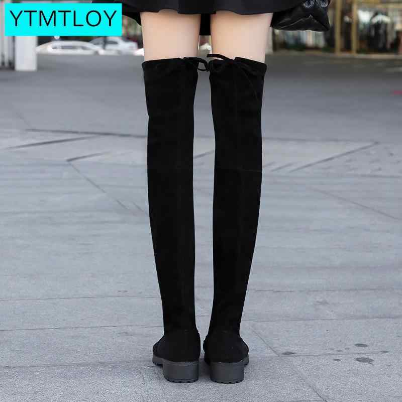 ฤดูใบไม้ร่วงฤดูหนาวใหม่รองเท้าผู้หญิงรองเท้าสีดำเหนือเข่ารองเท้าบูทเซ็กซี่หญิงหญิงต้นขาสูงรองเท้า Over- -เข่ารอบ Toe