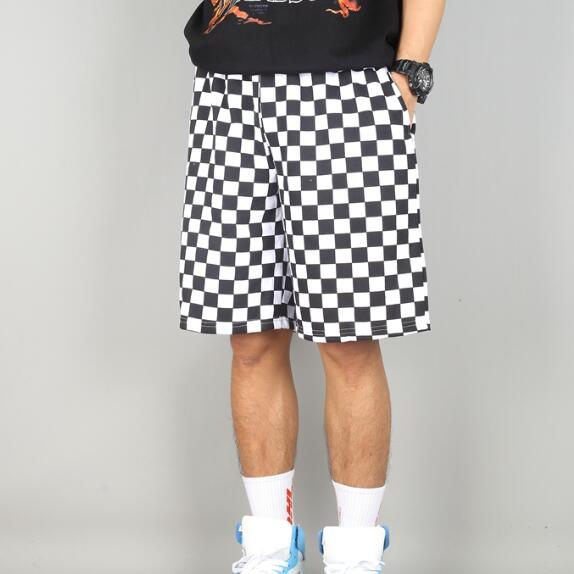 Shorts Men Summer Chess Plaid White Black