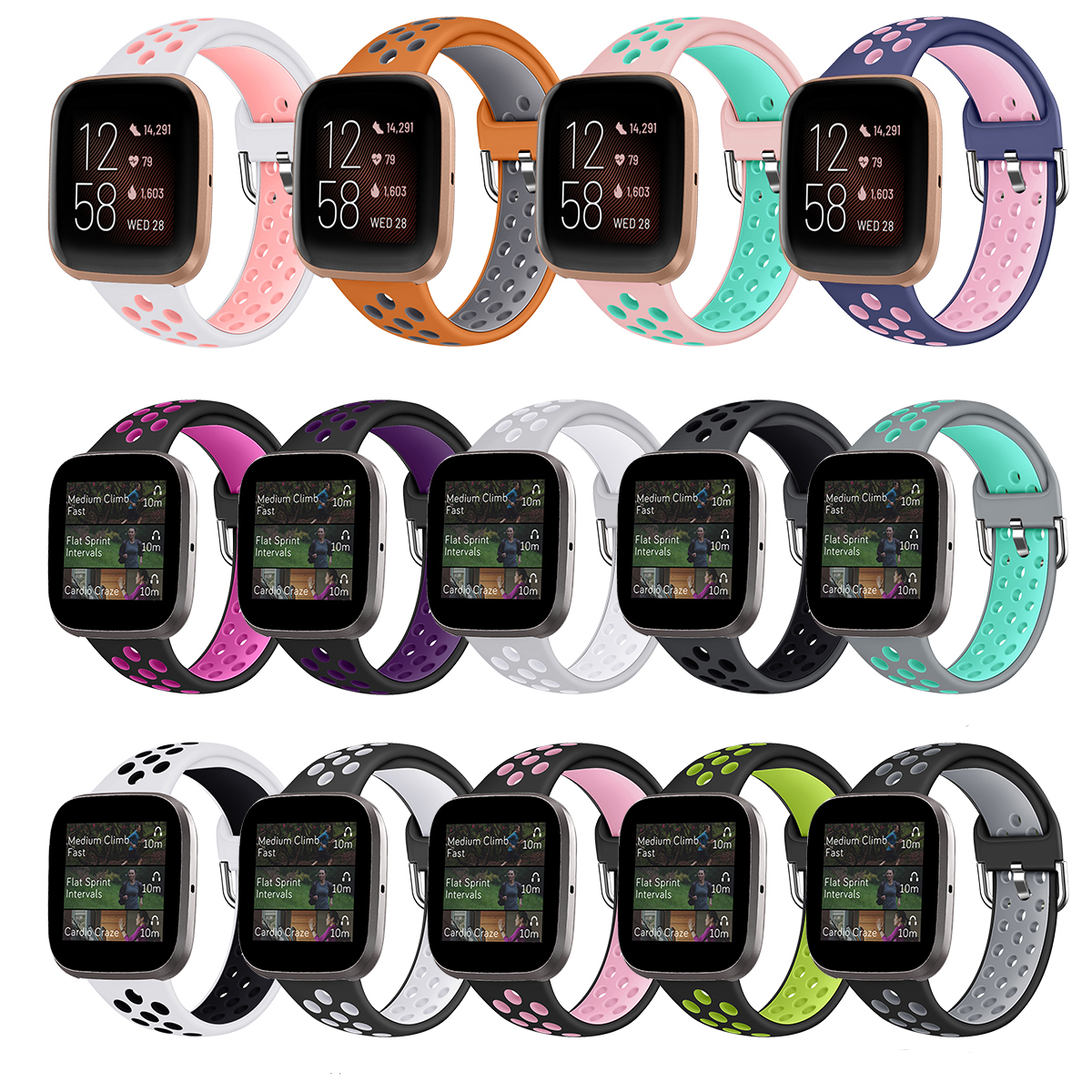 For Fitbit Versa 2 / Versa / Versa Lite Band Two-Color Waterproof Silicone Breathable Watch Strap For Fit Bit Versa Bracelet