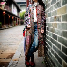 Coat Women Outerwear Patchwork-Dresses Flower Linen Long-Sleeve Chinese-Style Vintage