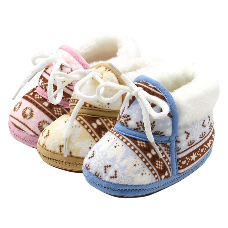 6-12M Newborn Baby First Walkers Winter Soft Soled Cotton Fabric Toddler Keep Warm Print Shoes
