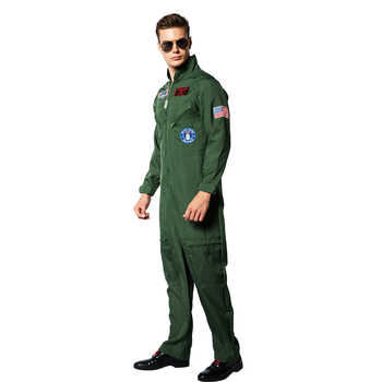 Eraspooky Top Gun Movie Cosplay American Airforce Uniform Halloween Costumes For Men Adult Army Green Military Pilot Jumpsuit