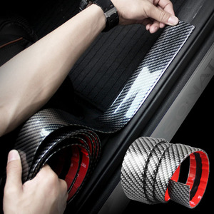 Car Door Protector Carbon Fiber Rubber Car Stickers Scratch Proof Auto Door Sill Protection Goods Moulding Strip Car Styling