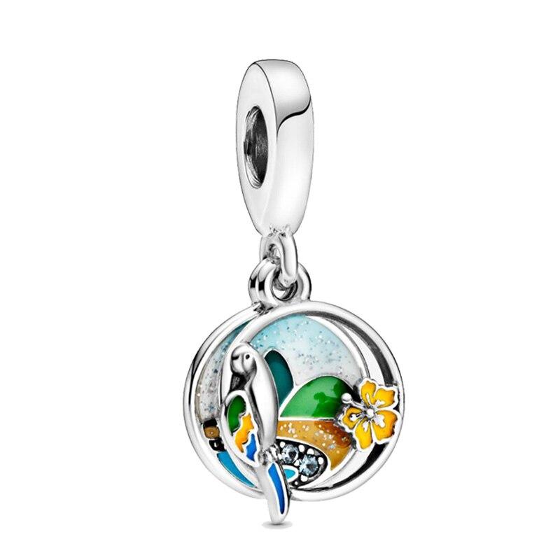 2020 verão Novo 925 Sterling Silver Brasil Praia Papagaio Oscila Encantos Beads fit Pulseiras Europeus Originais Mulheres DIY Jóias