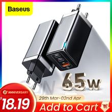 Baseus GaN 65W ładowarka USB C szybkie ładowanie 4 0 3 0 QC4 0 QC PD3 0 PD USB-C typ C szybka ładowarka USB dla iPhone 12 Pro Max Macbook tanie tanio Adaptacyjne szybkie ładowanie Samsung FCP firmy Huawei USB PD BC1 2 Szybkie ładowanie Qualcomm Szybkie ładowanie Huawei