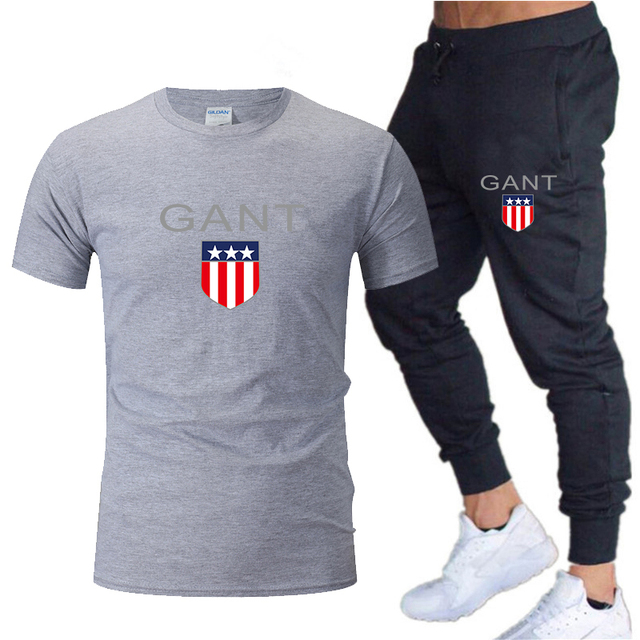 2020 men's casual suit top men's printed sports suit cotton T-shirt + sports trousers two-piece quick-drying running suit
