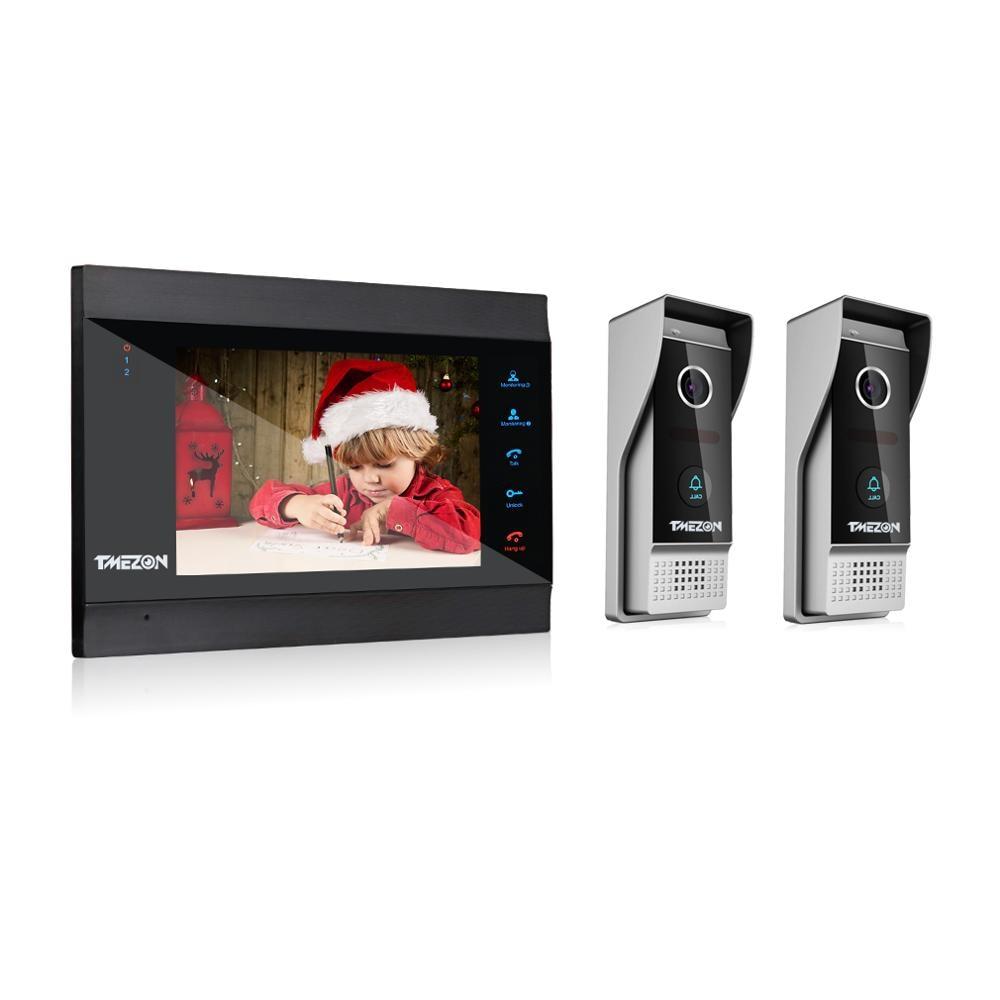 TMEZON 7 дюймов беспроводной/WIFI умный IP видео дверной звонок Домофон с 1 монитором ночного видения + 2 непромокаемые двери телефон камера