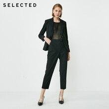 Seçilen kadın yün karışımlı yüksek katlı düz Fit kırpma takım elbise pantolon SIG