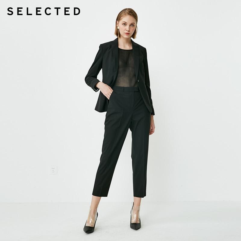 Selecionado feminino lã-mistura high-rise straight fit colheita terno calças sig | 418318503