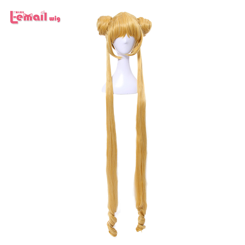 L-email Wig Brand New Sailor Moon Cosplay Wigs 130cm Long Blonde Wigs Heat Resistant Synthetic Hair Perucas Cosplay Wig