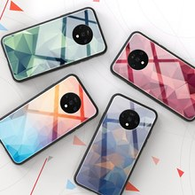Tempered Glass Phone Case For Oneplus 7T 7 Pro 6 6T 5 5T Luxury Colorful Geometric Back Cover