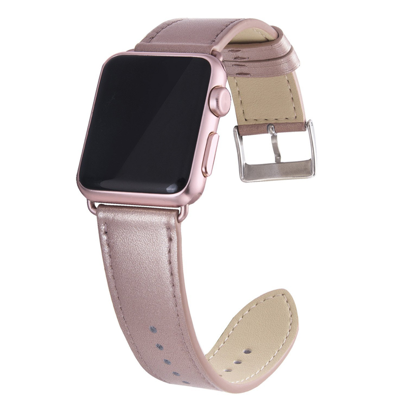 Rose Red Bracelet Genuine Leather Strap Watch Band 38mm 42mm , Viotoo Watch-band strap for Apple watch band