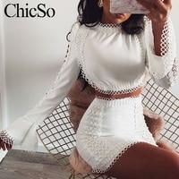 MissyChilli, кружевное Белое Облегающее Платье, для женщин, из двух частей, с расклешенными рукавами, зимнее платье, Осенние, короткие, сексуальны...
