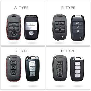 Wysokiej jakości skórzana obudowa kluczyka do samochodu pokrowiec do Kia Ceed Sportage Rio 3 4 Picanto Sorento Borrego kluczowe części skórzane etui Car Styling tanie i dobre opinie KUKAKEY CN (pochodzenie) Górna warstwa skóry AOO027 Black Line Red Line Car Key Case Cover For KIA key