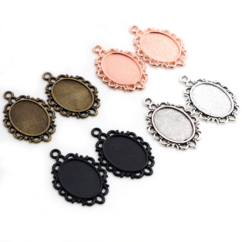 10pcs 13x18mm Inner Size Antique Silver Plated Flower Style Cameo Cabochon Base Setting Charms Pendant Necklace Findings