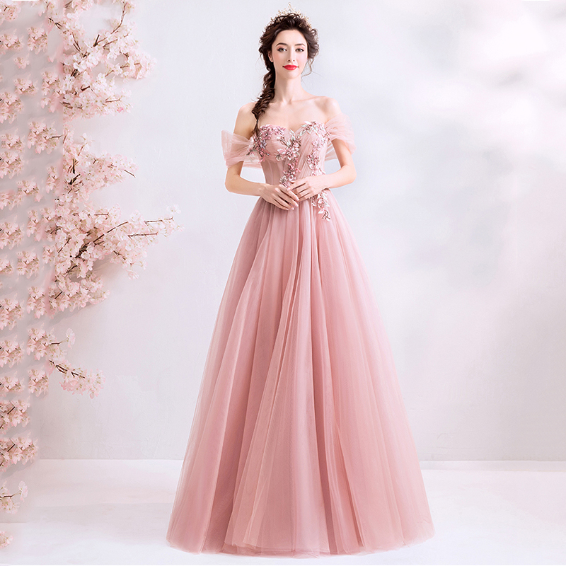 Evening Gowns Pink Lace A-Line Embroidery Formal Party Dress Off Shoulder Backless Elegant Dresses Women Robe De Soiree E634