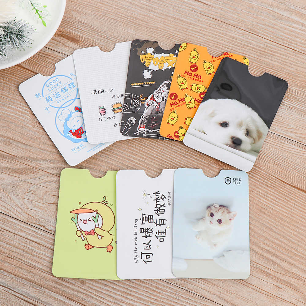 4PC Cute RFID Anti-degaussing Bank Card Holder ID Card Case Bus Card Cover IC Aluminum Foil Bag Card Protector School Supplies