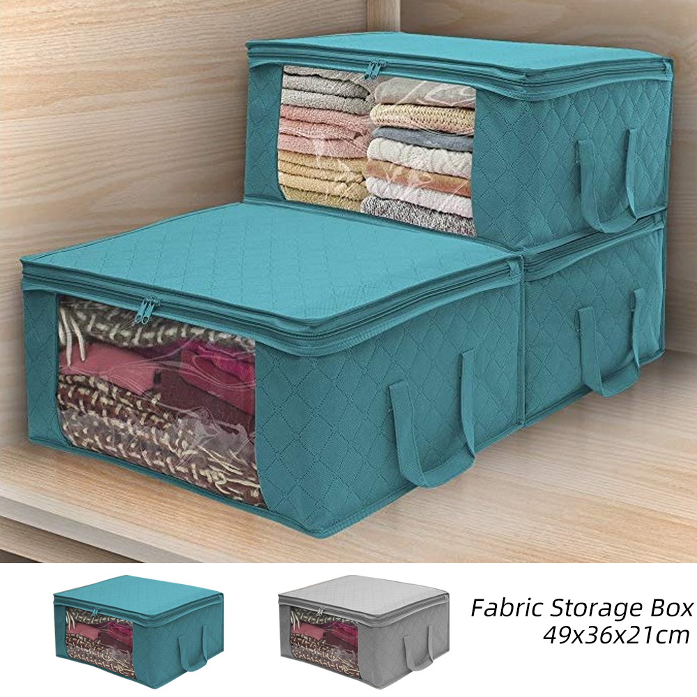 Folding Storage Box  Dirty Clothes Collecting Case Non Woven Fabric With Zipper Moisture-proof Toys Quilt Storage Box