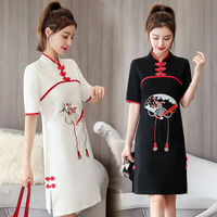 EXOTIC APPAREL 2020 summer dress new style of Maestros Modified Cheongsam dress embroidered Chinese style young Cheongsam